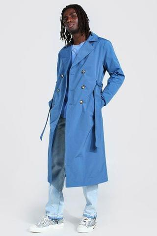 MEN Extra Longline Double Breasted Trench Coat
