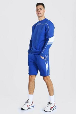 MEN Tall Man Short Sweater Tracksuit With Piping