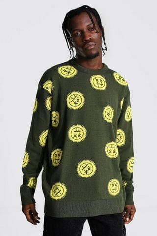 MEN Oversized All Over Drip Face Knitted Jumper