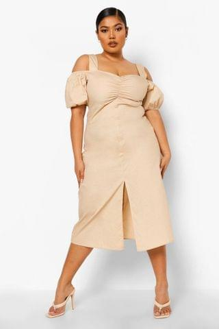 WOMEN Plus Open Shoulder Ruched Midi Dress