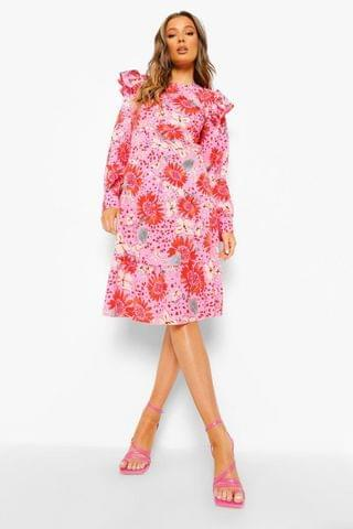 WOMEN Floral Long Sleeve Frill Shoulder Midi Dress