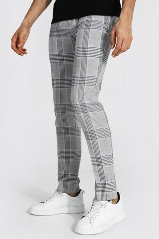 MEN Tall Super Skinny Check Cropped Smart Trouser