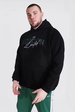 MEN Plus Size Heavyweight Embroidered Hoodie