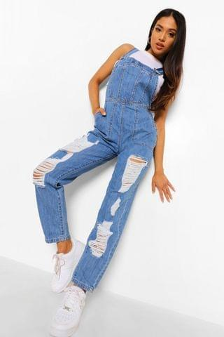 WOMEN Petite Distressed Denim Dungarees