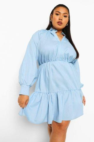 WOMEN Plus Chambray Tiered Ruffle Smock Dress