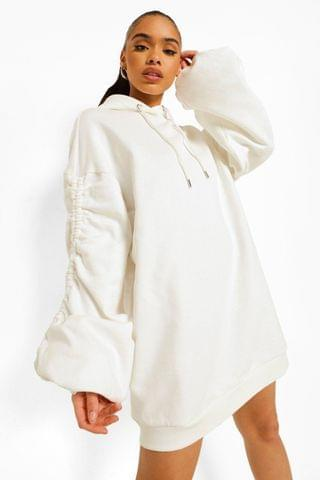 WOMEN Ruched Sleeve Oversized Hoodie Dress