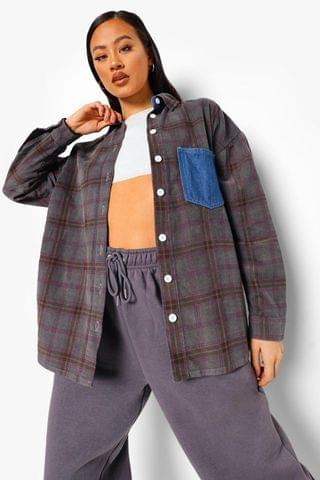 WOMEN Check Cord Denim Overshirt