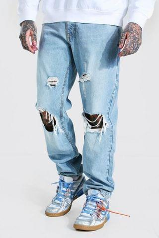 MEN Relaxed Fit Distressed Jean With Busted Knee