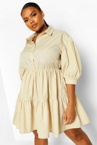 WOMEN Plus Tiered Smock Shirt Dress