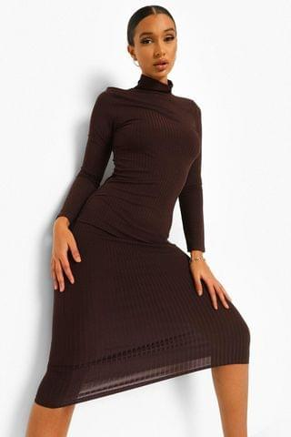 WOMEN Rib High Neck Long Sleeve Midi Dress