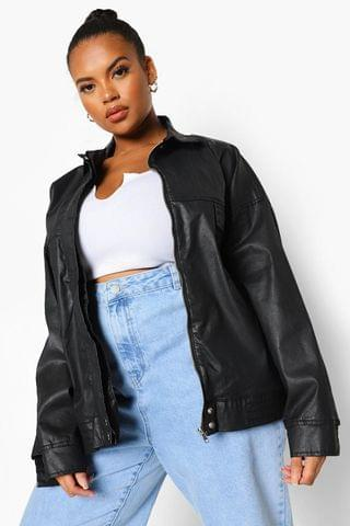 WOMEN Plus Coated Denim Oversized Bomber Jacket
