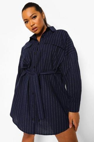 WOMEN Plus Pinstripe Pocket Front Shirt Dress