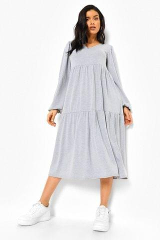 WOMEN Long Sleeve Drop Hem Midi Smock Dress