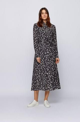 WOMEN Long-length printed shirt dress with detachable slip