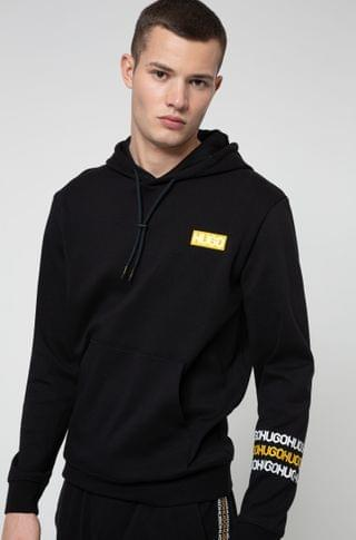 MEN French-terry cotton hooded sweatshirt with tire-print logos