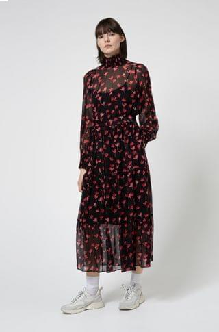 WOMEN Midi dress in silk chiffon with cherry-blossom print