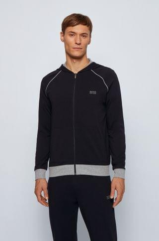 MEN Zip-through hoodie in stretch cotton jersey with contrast piping