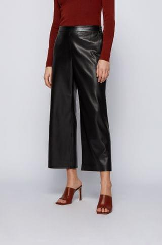 WOMEN Cropped regular-fit pants in coated faux leather
