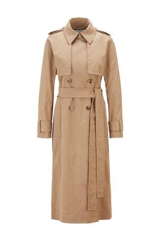 WOMEN Long-length belted trench coat in cotton-blend twill