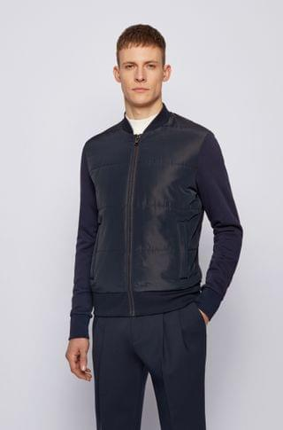 MEN French-terry zip-through sweatshirt with quilted front panel