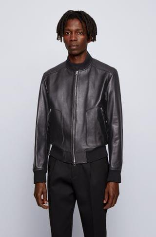MEN Regular-fit jacket in nappa leather with ribbed knitwear