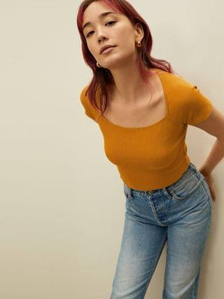 WOMEN The Ribbed Square-Neck Top