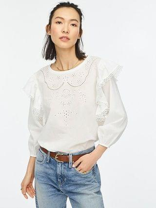 WOMEN Embroidered ruffle sleeve top