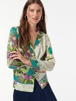 WOMEN Drapey button-up top in Ratti leafy floral