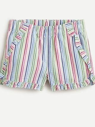 KIDS Girls' ruffle short in seersucker