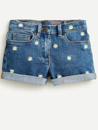 KIDS Girls' denim short with daisy embroidery