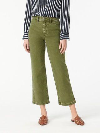 WOMEN Garment-dyed slim wide-leg jean
