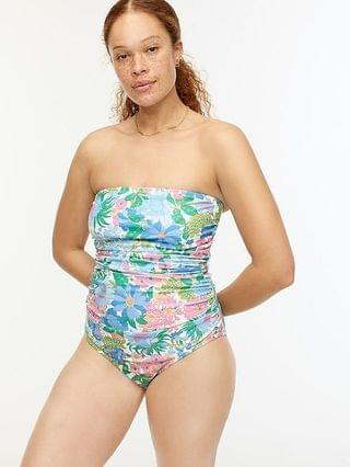WOMEN Eco ruched bandeau one-piece in fairy floral