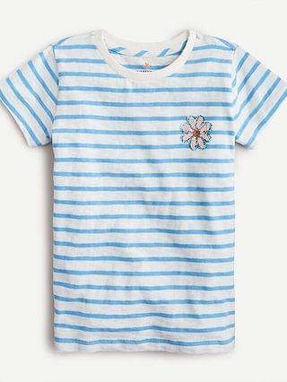 KIDS Girls' sequin flower T-shirt in stripe