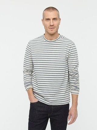 MEN Wallace & Barnes long-sleeve upcycled indigo T-shirt in stripe