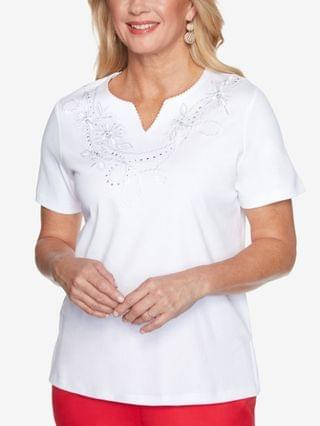 WOMEN Petite Anchor's Away Rope-Embroidered Top