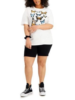 WOMEN Plus Size Printed T-Shirt and Bike Short Outfit