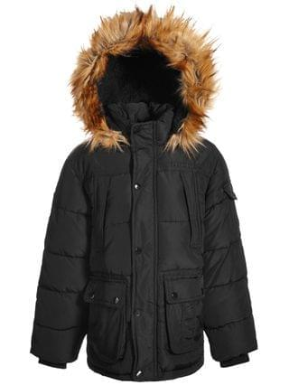 KIDS Little Boys Bomber Puffer with Faux-Fur Trim