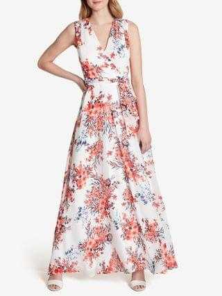 WOMEN Crossover-Neck Floral Maxi Dress
