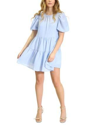 WOMEN Puff-Sleeve Ruffle-Hem Babydoll Dress