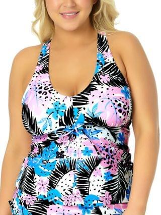 WOMEN California Waves Trendy Plus Size Cinch-Front Floral Tankini Top Created for Macy's