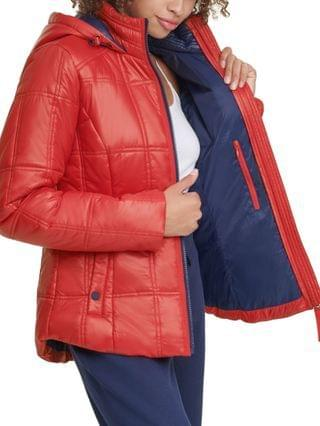 WOMEN Box-Quilted Hooded Puffer Coat