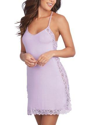 WOMEN Soft Knit Jersey Sleepwear Chemise with Scalloped Lace Trim and Side Slit