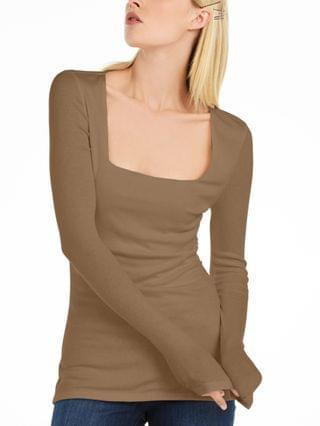 WOMEN INC Square-Neck Ribbed Top Created for Macy's