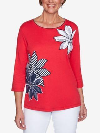 WOMEN Petite Anchor's Away Exploded-Floral Appliqu Top