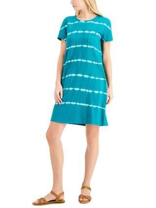 WOMEN Tie-Dyed Cotton T-Shirt Dress Created for Macy's