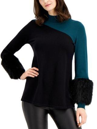 WOMEN Colorblocked Sweater With Faux-Fur Cuffs Created for Macy's