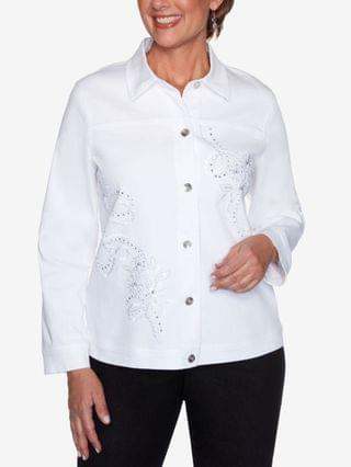 WOMEN Petite Anchor's Away Rope-Embroidered Jacket