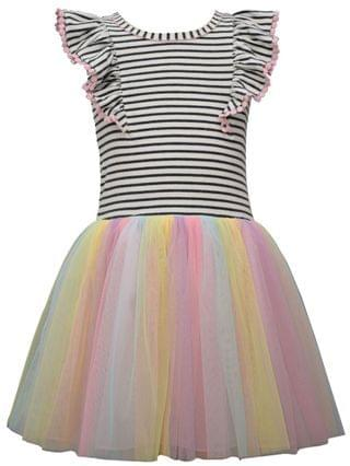 KIDS Little Girls Knit Pinafore Style Hipster Dress with Ballerina Skirt