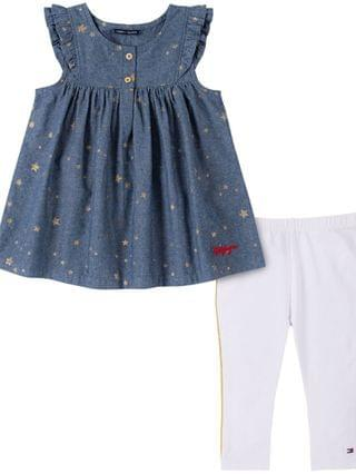 KIDS Little Girls Chambray with Gold-Tone Foil Printed Stars Tunic and Legging Two Piece Set