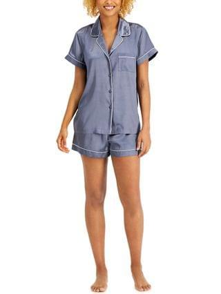 WOMEN INC Satin Notched Collar Top & Shorts Pajamas Set Created for Macy's